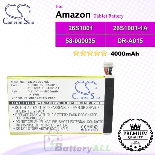 CS-ABD007SL For Amazon Tablet Battery Model 26S1001 / 26S1001-1A / 58-000035 / DR-A015