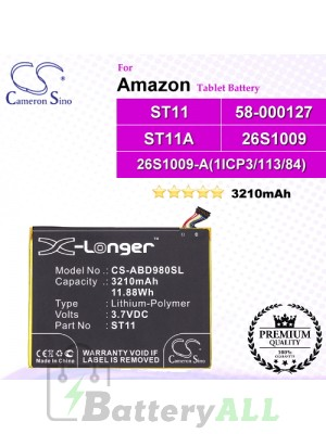 CS-ABD980SL For Amazon Tablet Battery Model 26S1009 / 26S1009-A(1ICP3/113/84) / 58-000127 / ST11 / ST11A