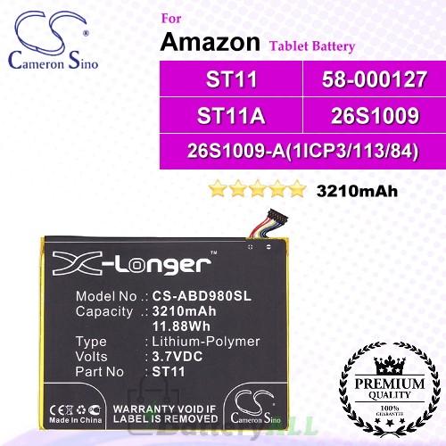 CS-ABD980SL For Amazon Tablet Battery Model 26S1009 / 26S1009-A(1ICP3/113/84) / 58-000127 / ST11 / ST11A