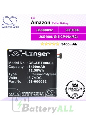 CS-ABT006SL For Amazon Tablet Battery Model 26S1006 / 26S1006-S(1ICP4/84/82) / 58-000092