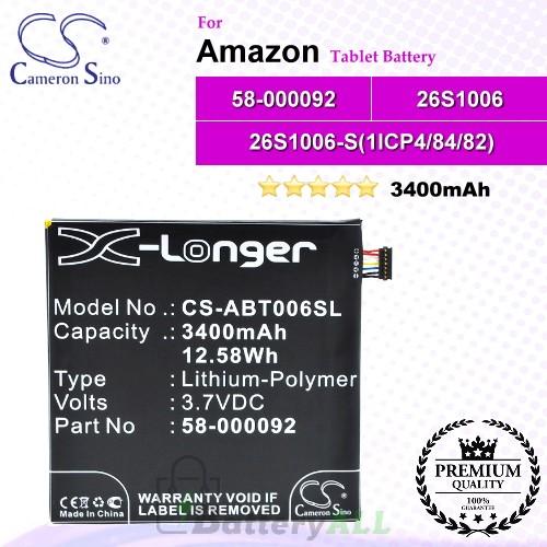 CS-ABT006SL For Amazon Tablet Battery Model 26S1006 / 26S1006-S(1ICP4/84/82) / 58-000092