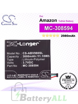 CS-ABV980SL For Amazon Tablet Battery Model MC-308594
