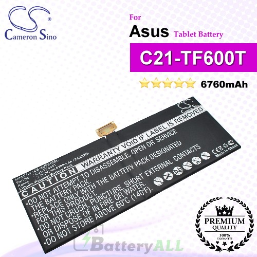 CS-AUF610SL For Asus Tablet Battery Model C21-TF600T