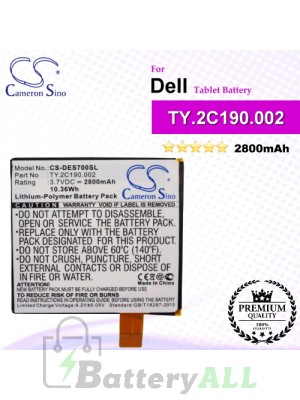 CS-DES700SL For Dell Tablet Battery Model TY.2C190.002