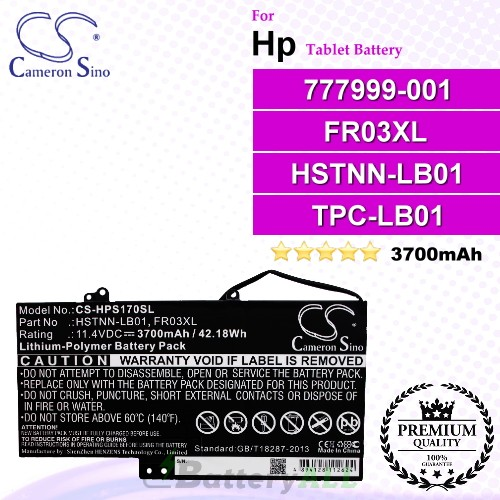 CS-HPS170SL For HP Tablet Battery Model 777999-001 / FR03XL / HSTNN-LB01 / TPC-LB01