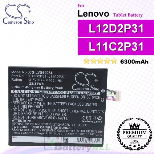 CS-LVS600SL For Lenovo Tablet Battery Model L11C2P31 / L11M2P31 / L12D2P31