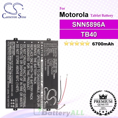 CS-MTX615SL For Motorola Tablet Battery Model L-L-L DC110510 / SNN5896A / TB40