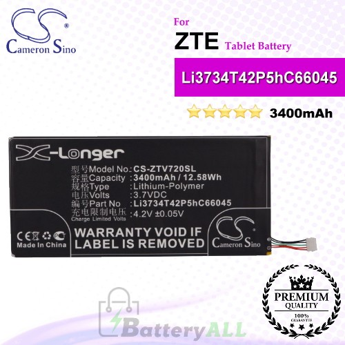 CS-ZTV720SL For ZTE Tablet Battery Model Li3734T42P5hC66045