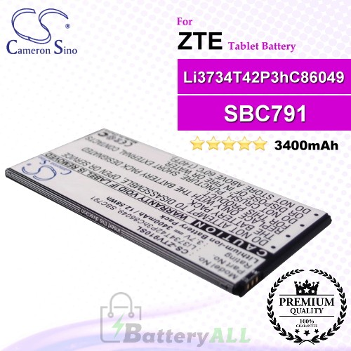 CS-ZTV910SL For ZTE Tablet Battery Model Li3734T42P3hC86049 / SBC791